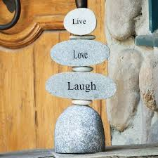 Engraved Rock Cairn - Live Love Laugh